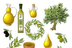 Cartoon Olive Oil Elements Set