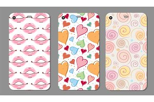 Phone case collection. Closeup beautiful lips of woman with red lipstick and gloss. Sexy wet lip make-up. Open mouth. Sweet kiss.Retro mobile phone decals. Vector illustration