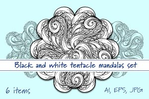 Black and white tentacle mandalas se