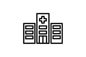 Web line icon. Hospital black