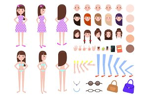 Female and Set Construction Vector Illustration