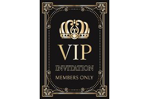 Invitation for VIP Members Only with Gold Crown
