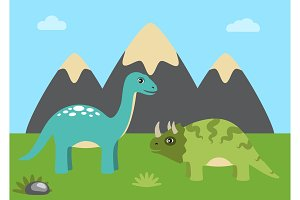 Dinosaurs and Nature with Sky Vector Illustration