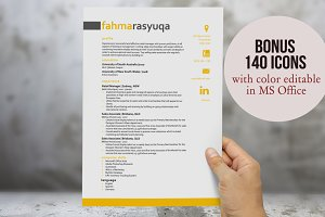 3 in 1 yellow resume template