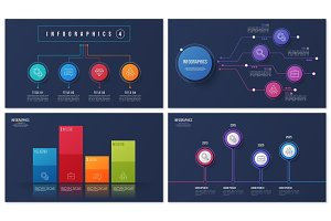 Set of vector 4 options infographic designs