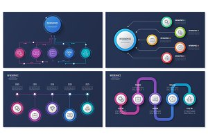 Set of vector 5 options infographic designs