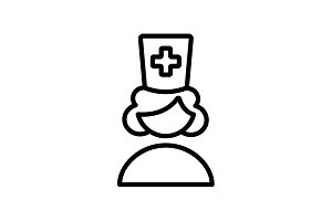 Web line icon. Female doctor, nurse