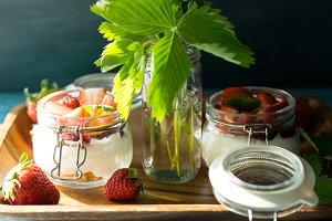 Strawberry cream in a jar