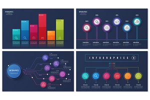 Set of vector 6 options infographic designs