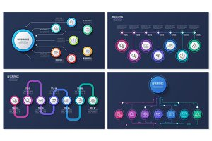 Set of vector 7 options infographic designs