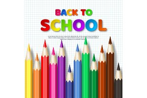 Back to school typography design with realistic colorful pencil. Paper cut style letters on squared paper background. Vector illustration.