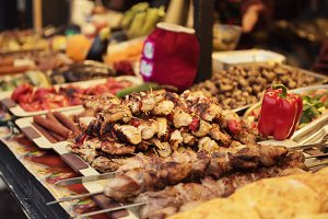 Barbeque at street market