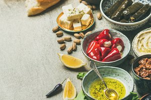 Mediterranean or Middle Eastern meze starter fingerfood assortment, square crop