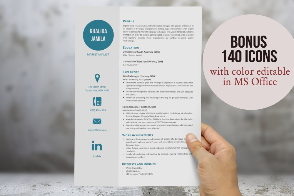 Big icon modern resume template ~ Resume Templates ~ Creative Market