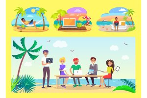 Freelancers Work at Office Table on Tropical Beach
