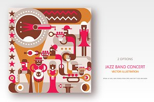 Jazz Band concert retro illustration