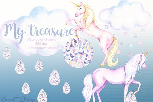 Unicorn and crystal clipart.
