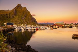 Many yachts anchored at the Marina of Svolvaer on Lofoten islands