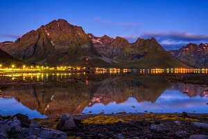 Evening at a fishing village on Lofoten islands in Norway