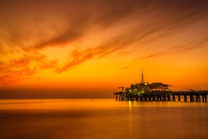 Sunset from Santa Monica Pier in Los Angeles