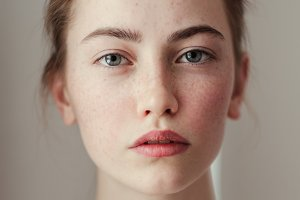 portrait of a girl with freckles
