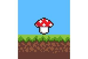 Pixel Mushroom on Cute 2d Meadow, Vector Banner
