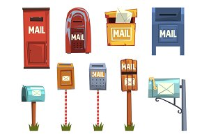 Mail boxes set, vintage postbox cartoon vector Illustrations
