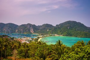 Tonsai Village and the mountains of Koh Phi Phi island in Thailand