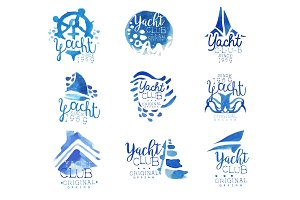 Yacht club, sailing sports or marine travel vector Illustrations for stickers, banners, cards, advertisement, tags