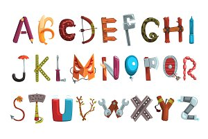 Collection of letters made of various objects, food and tools. Creative detailed font. Kids development and education. Flat vector design for book, poster or card