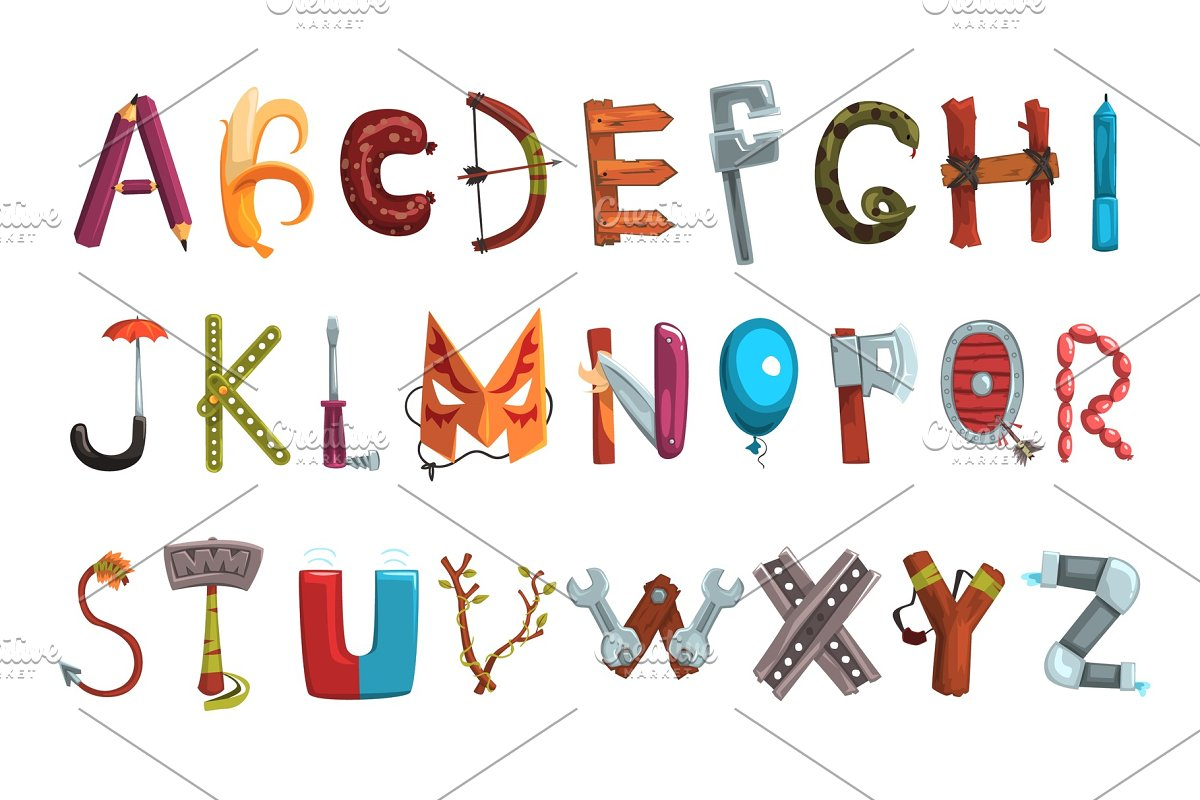 Letter Made Out Of Objects.Collection Of Letters Made Of Various Objects Food And Tools Creative Detailed Font Kids Development And Education Flat Vector Design For Book