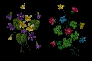 embroidery of wildflowers