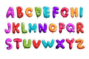 Set of colorful font in form balloons. Children s English alphabet. Letters from A to Z. ABC concept. Flat vector design for print, poster, invitation, card or flyer