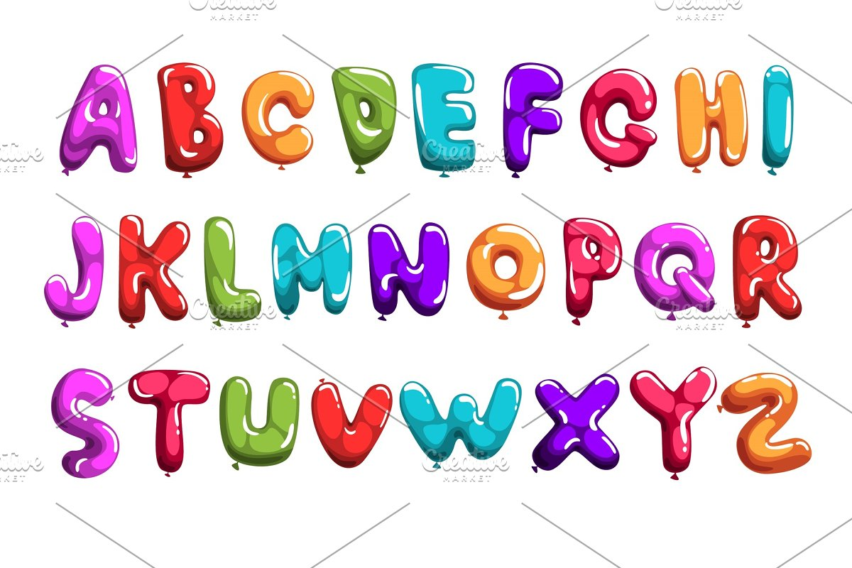Set of colorful font in form balloons  Children s English alphabet  Letters  from A to Z  ABC concept  Flat vector design for print, poster,
