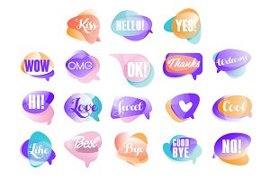 Colorful transparent speech bubbles with short phrases set of vector Illustrations