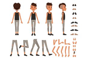 Boy character creation set, student boy constructor with different poses, gestures, shoes vector Illustrations