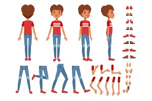 Boy character creation set, cute boy constructor with different poses, gestures, shoes vector Illustrations
