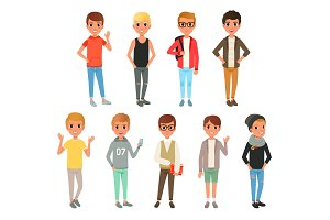 Set of cute boys characters dressed in stylish casual clothing. Kids posing with smiling face expressions. Children wear. Cartoon flat vector design