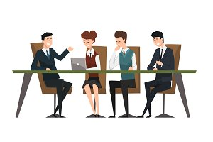 Group business people working in office. Men dressed in classic black suits and ties. Assistant work on laptop. Brainstorming or teamwork. Flat vector design