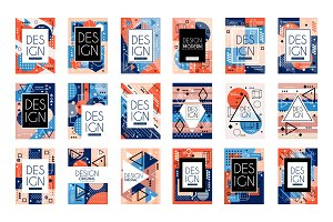 Set of cards with colorful bright abstract geometric design with place for text. Memphis style. Stylish greetings, flyers, hipster poster. Vector isolated on white.