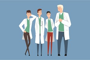 Hospital medical staff, doctors team. Flat men characters in medical white coats and uniform. Teamwork. Professionals stand in different poses. Vector illustration