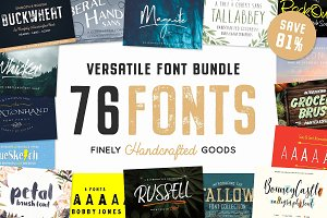 76 Fonts Bundle & Plenty of Extras
