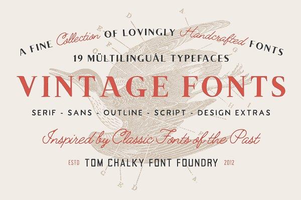19 Vintage Fonts Bundle & Extras