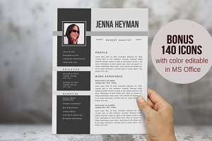 Elegant photo 2 in 1 Word resume