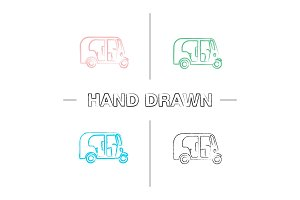 Auto rickshaw hand drawn icons set