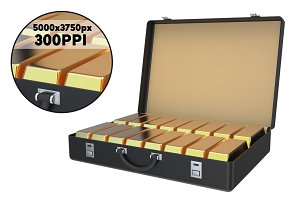 Suitcase Full of Gold Ingots 3D