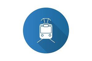 Tram flat design long shadow glyph icon