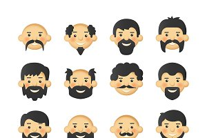Men avatars with beards & mustaches