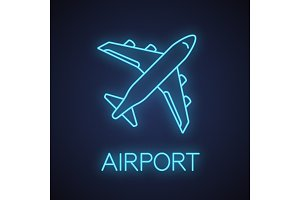 Airplane neon light icon