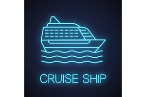 Cruise ship neon light icon